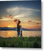Watching Sunset With Daddy Metal Print