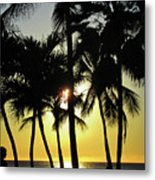 Watching The Hawaiian Sunset  Metal Print