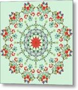 Water Color Garden Kaleidoscope Metal Print