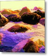 Water Color Like Rocks In Ocean At Sunset Metal Print