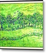 Water Color Of Apple Orchard Farm Metal Print