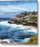 Water Cove With Rocky Cliffs Metal Print