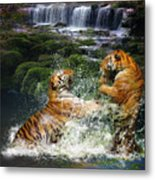 Water Fight Metal Print