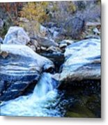Water Flowing Through Rock Formation In Sabino Canyon II Metal Print