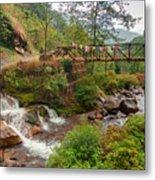 Water Flowing Through Rocks Kukhola Falls Sikkim Metal Print