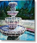 Water Fountain Acrylic Painting Art Print Metal Print