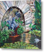 Water Fountain Metal Print by Milagros Palmieri