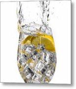 Water Glass Metal Print