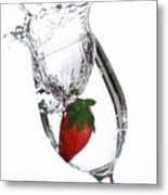 Water Glass Strawberry Metal Print