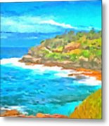 Water Gushing In On A Natural Cove Metal Print