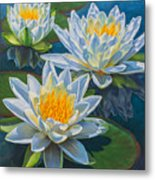 Water Lilies 12 - Fire And Ice Metal Print