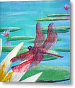 Water Lilies And Dragonfly Metal Print