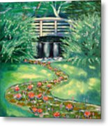 Water Lilies Bridge Metal Print