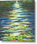 Water Lillies At Dusk Metal Print