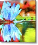Water Lily And Bee Pastel Metal Print