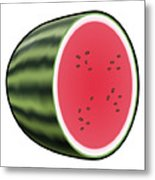Water Melon Outlined Metal Print