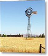 Water Pump Windmill At Wheat Farm In Rural Oregon Metal Print