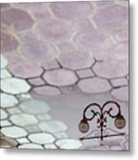 Water Reflection Of Garden Lamps At The Akshardham Temple, Jaipur  Metal Print