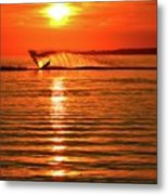 Water Skiing At Sunrise  Metal Print