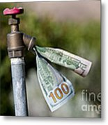 Water Spigot With Money Flowing Out Metal Print