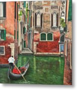 Water Taxi On Venice Side Canal Metal Print