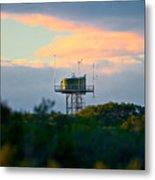Water Tower In Orange Sunset Metal Print