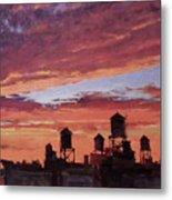 Water Towers At Sunset No. 4 Metal Print