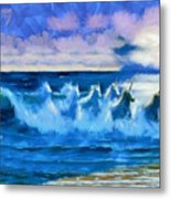 Water Unicorns Metal Print