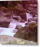Water Winding Through Rocks Metal Print