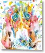 Watercolor Basset Hound Metal Print