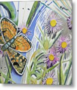 Watercolor - Checkerspot Butterfly With Wildflowers Metal Print