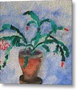 Watercolor Christmas Cactus First Bloom Metal Print