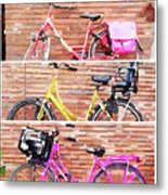 Watercolor Collage Of Three Bicycles In Triptych Metal Print