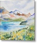 Watercolor - Colorado Alpine Landscape Metal Print