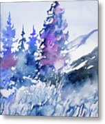Watercolor - Colorado Winter Wonderland Metal Print
