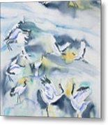 Watercolor - Crane Ballet Metal Print