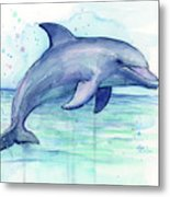 Watercolor Dolphin Painting - Facing Right Metal Print