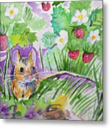 Watercolor - Field Mouse With Wild Strawberries Metal Print