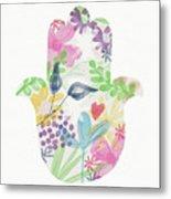 Watercolor Garden Hamsa- Art By Linda Woods Metal Print