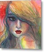 Watercolor Girl Portrait With Flower Metal Print