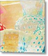 Watercolor Glassware Metal Print