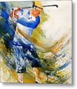 Watercolor  Golf Player Metal Print