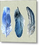 Watercolor Hand Painted Feathers Metal Print