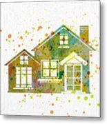 Watercolor Houses Metal Print