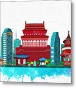 Watercolor Illustration Of Beijing Metal Print