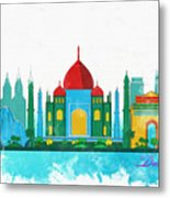 Watercolor Illustration Of Delhi Metal Print