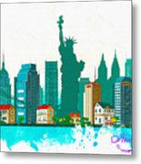 Watercolor Illustration Of New York Metal Print