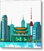 Watercolor Illustration Of Seoul Metal Print