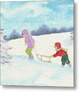 Watercolor Illustration Showing Two Children Pulling Sledge Uphi Metal Print