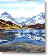Watercolor Lake Reflection Metal Print